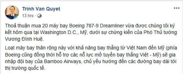 Dòng trạng thái đăng trên facebook Trịnh Văn Quyết