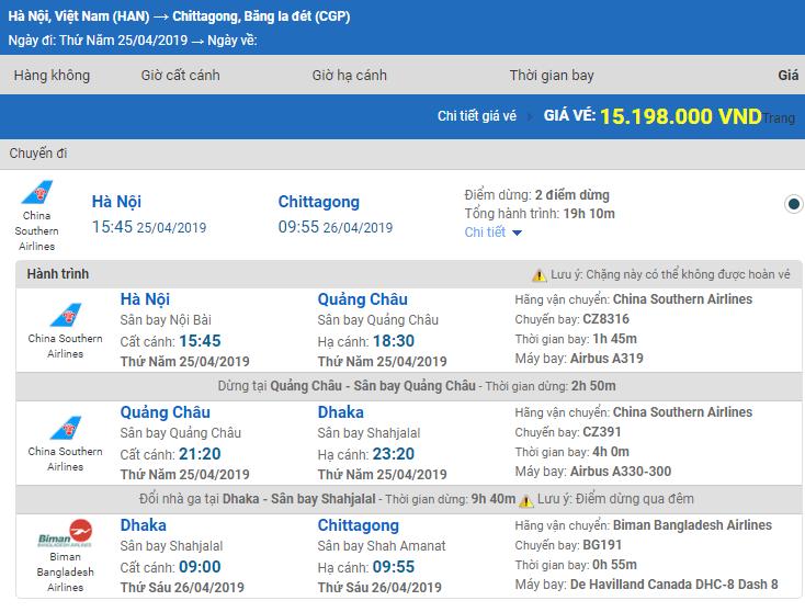 Giá vé máy bay từ Hà Nội đi Chittagong hãng China Southern Airlines