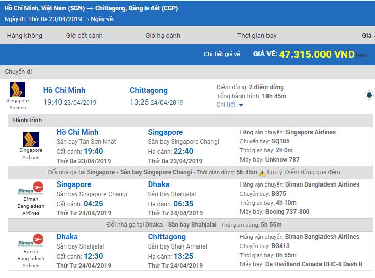Giá Vé máy bay từ Sài Gòn đi Chittagong hãng Singapore Airlines