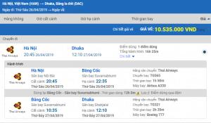 Giá vé máy bay từ Hà Nội đi Dhaka hãng Thai Airways