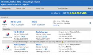 Giá Vé máy bay từ Sài Gòn đi Dhaka hãng Malaysia Airlines