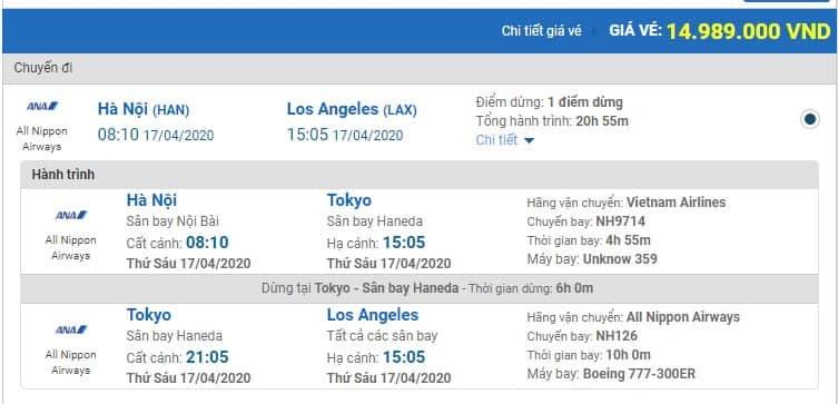 é máy bay từ Hà Nội đi Los Angeles