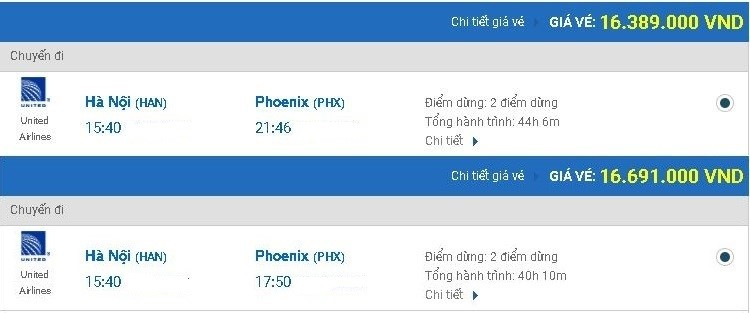 Vé máy bay United Airlines từ Hà Nội đi Phoenix