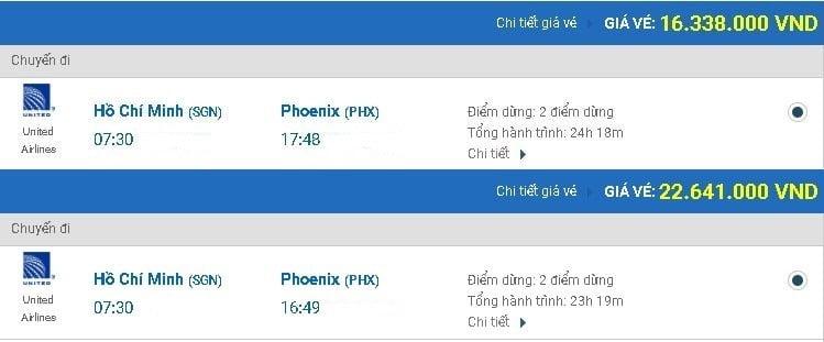 Vé máy bay United Airlines đi Phoenix
