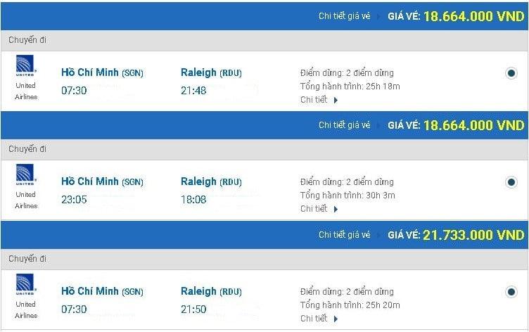 Vé máy bay United Airlines đi Raleigh