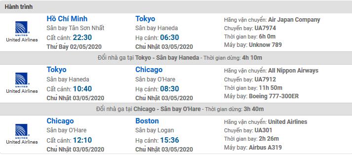 Vé máy bay United Airlines đi Boston